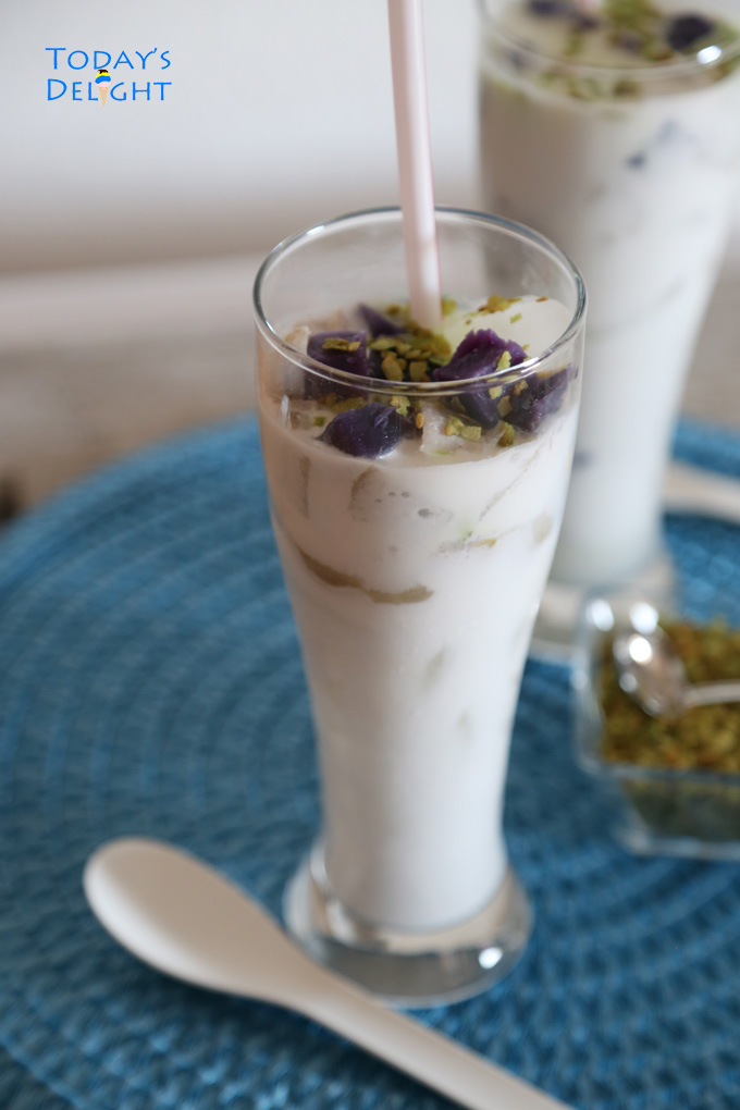Taro and Coconut Milk Drink with Toasted Green Pinipig