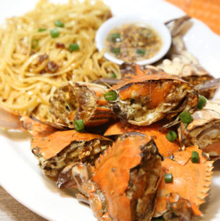Roasted garlic crab and garlic noodles