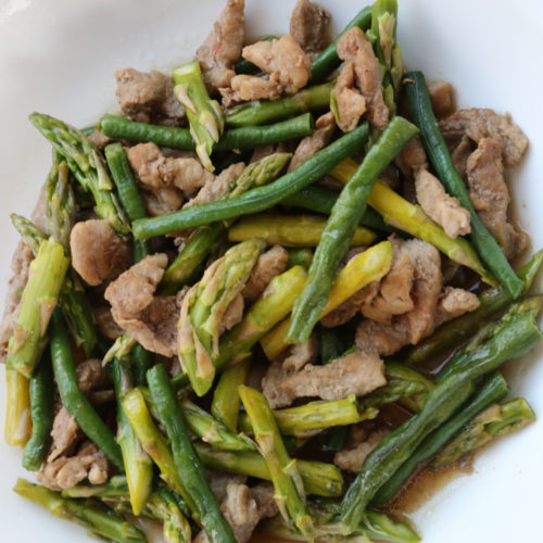 Stir Fried Green Beans with Pork and Asparagus
