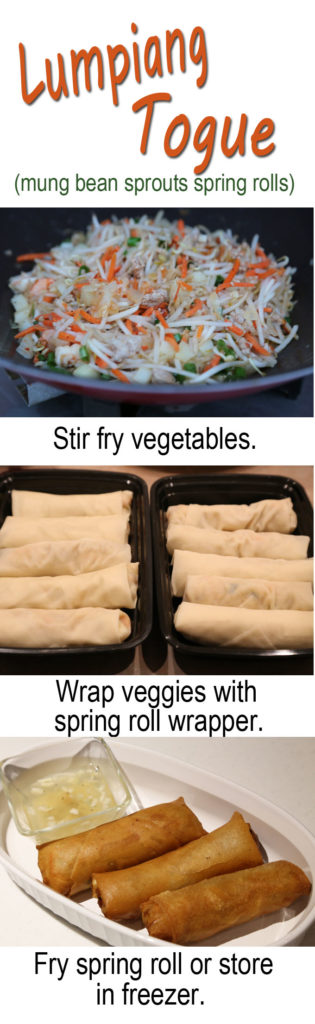lumpiang togue mung bean sprouts spring rolls at today's delight