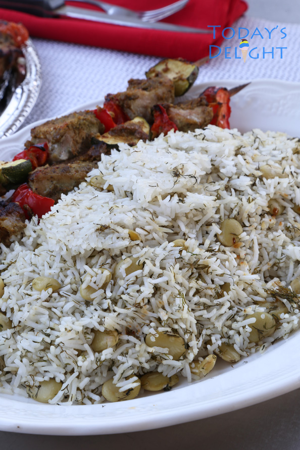 persian steamed rice with dill and lima beans is Today's Delight