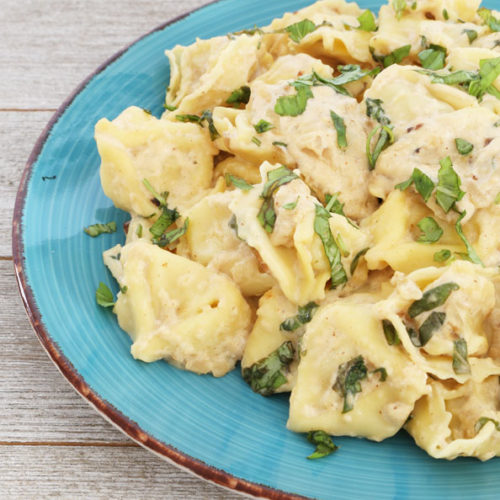 Cheese Tortellini with Basil Cream Sauce is Today's Delight