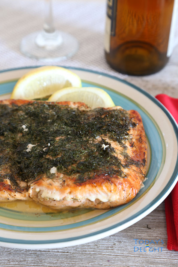 Baked Salmon with lemon and dill is Today's Delight