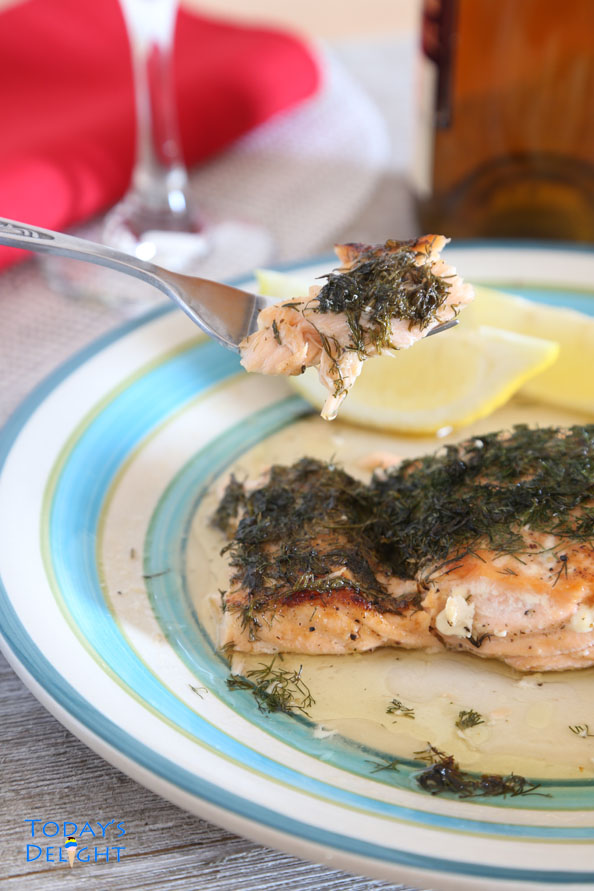 Salmon with lemon and dill is Today's Delight