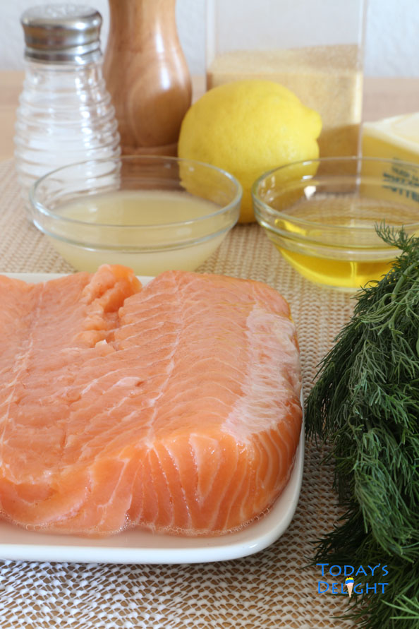 Salmon with lemon and dill ingredients is Today's Delight