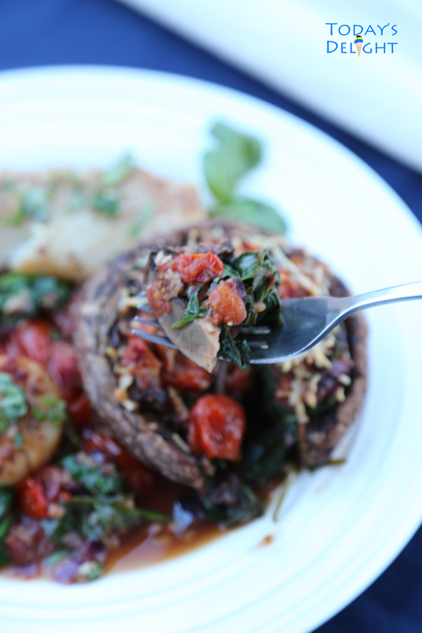 Delicious Spinach Stuffed Portobello Mushrooms is Today's Delight