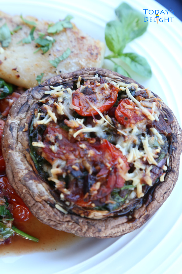 Today's Delight is Spinach Stuffed Portobello Mushrooms Recipe is simple to make