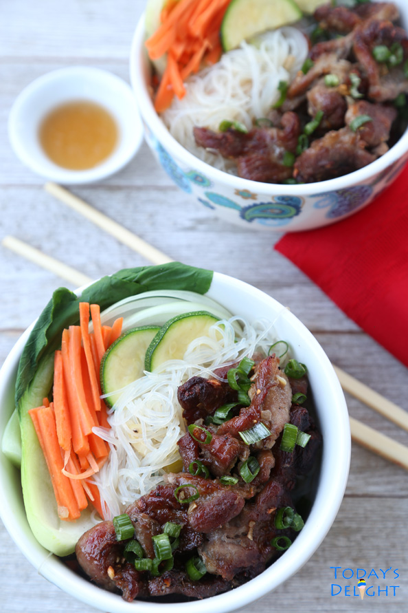 vietnamese grilled pork with rice noodles is Today's Delight