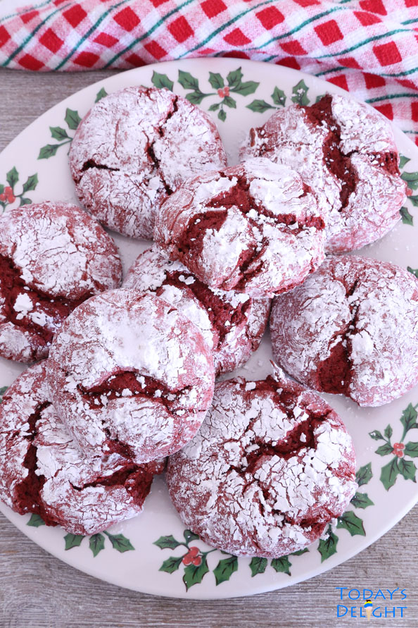 Easy Red Velvet Crinkle Cookies Recipe using Cake Mix is Today's Delight