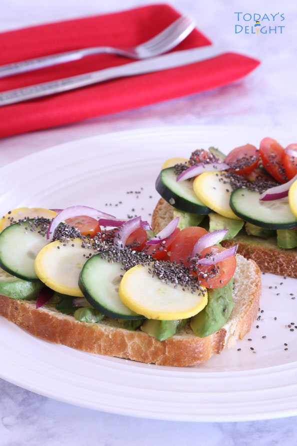 Cucumber Tomato Avocado Red Onion Zucchini with Chia Seeds Sandwich
