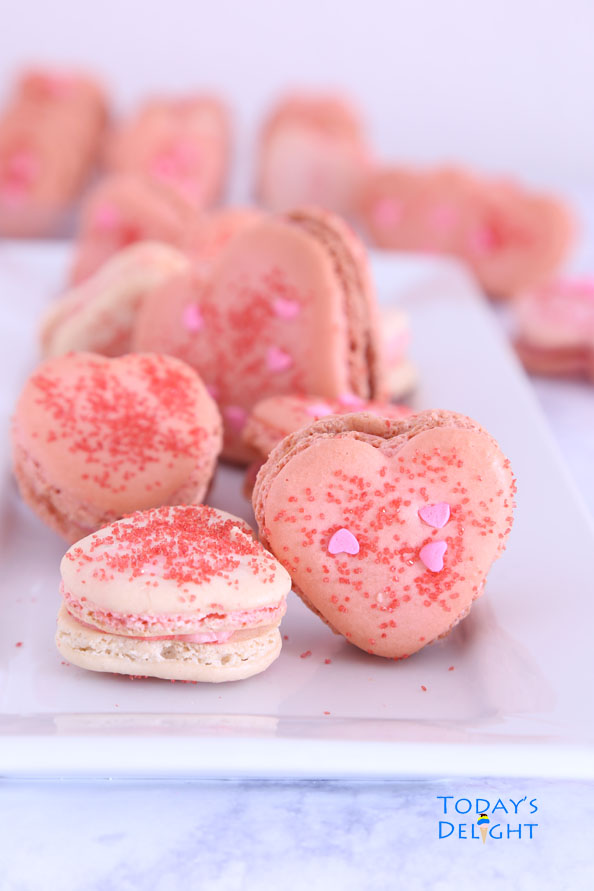 Heart Macarons filled with Strawberry Buttercream is Today's Delight.