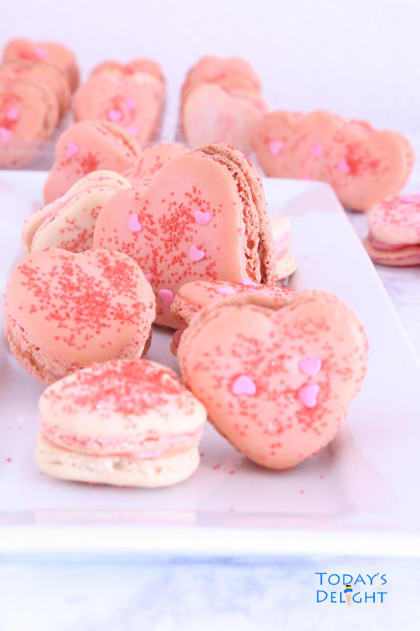 Heart Macarons with Strawberry Buttercream Filling is Today's Delight.