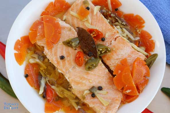 mediterranean style salmon in olive oil like Spanish sardines is Today's Delight