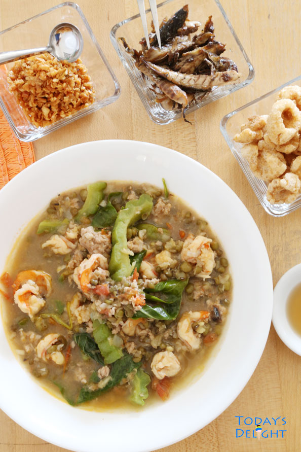 Ginisang Munggo with Chicharon and Toasted Garlic also known as sautéed mung bean stew is Today's Delight