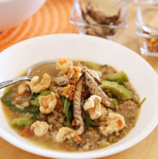 Ginisang Munggo with Chicharon and Toasted Garlic made of mung beans is nutritious and delicious.