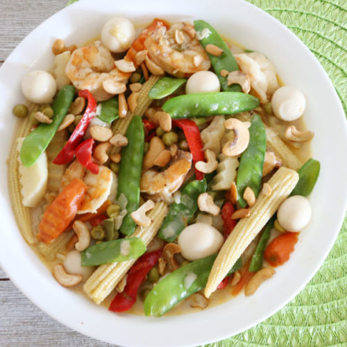 Shrimp with Quail Eggs Recipe with vegetable in creamy butter sauce is Today's Delight