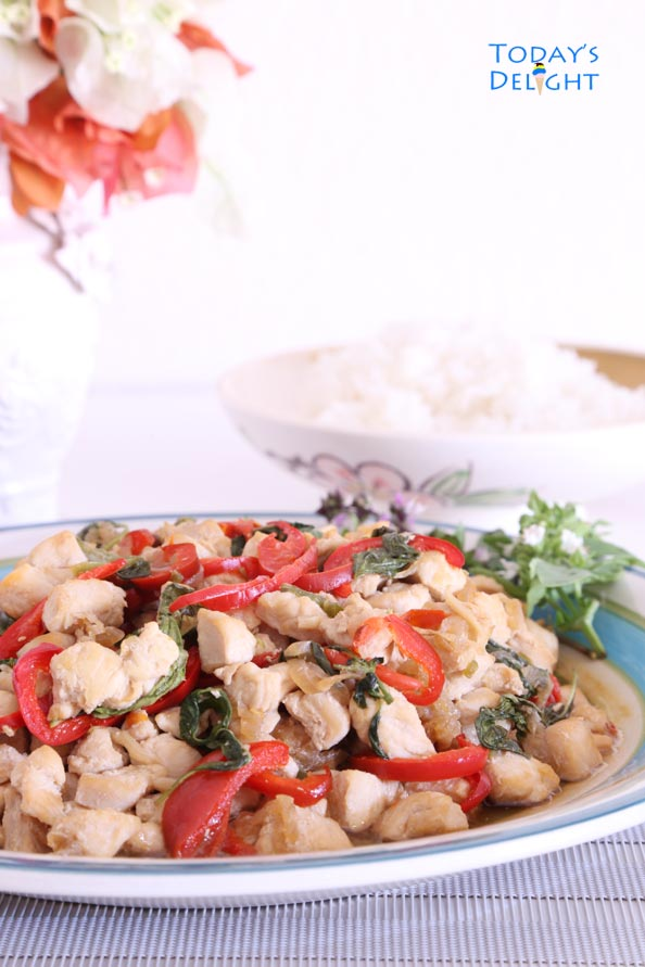 Chicken flavored with basil and peppers is Today's Delight