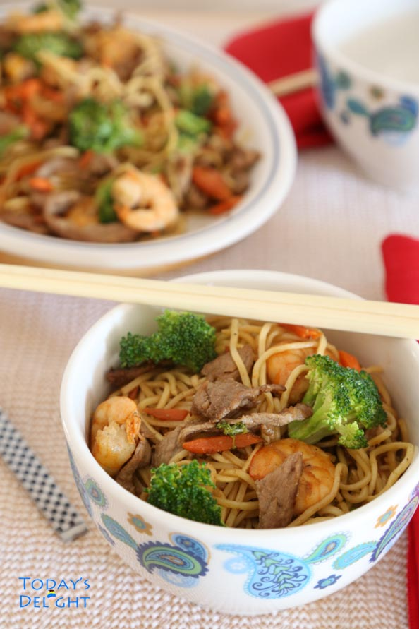 Chinese Lo Mein Noodles with Pork Shrimp Vegetable is Today's Delight