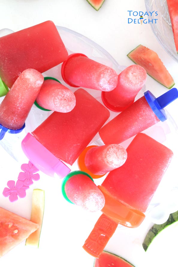Watermelon is blended with other ingredients & poured in mold & frozen to make popsicle.