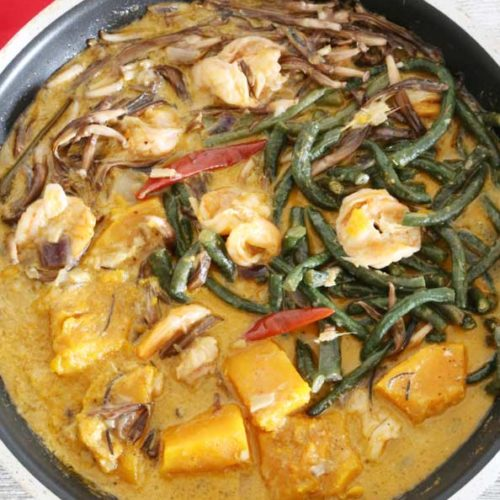 Ginataang Kalabasa at Sitaw with Shrimp (Squash and Long Beans in Coconut Milk) is Today's Delight