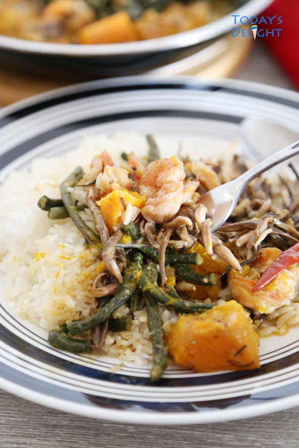 Squash, Long Beans & Shrimp in Coconut Milk over white rice is Today's Delight