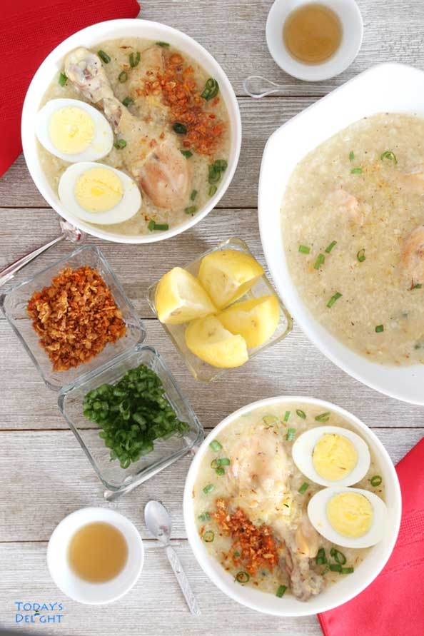 Chicken Rice Congee also known as Chicken Arroz Caldo is Today's Delight