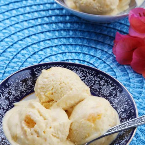 Mango Ice Cream Recipe made with ripe mangoes is Today's Delight.