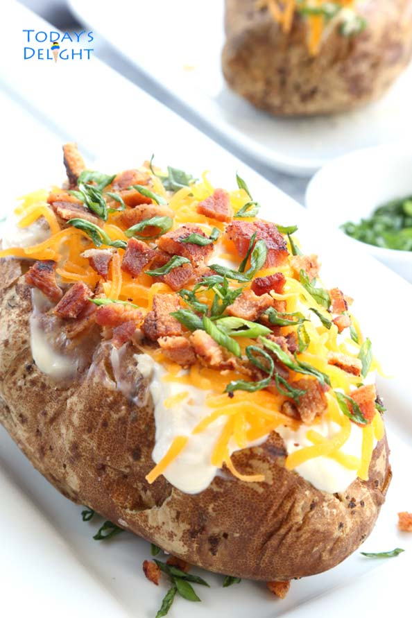 Perfect Baked Potato with toppings is Today's Delight.
