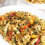 Rotini pasta with beef and vegetables