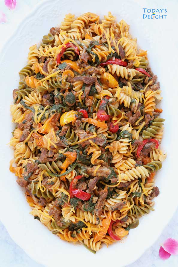 Easy Rotini with Beef and Spinach recipe is Today's Delight.