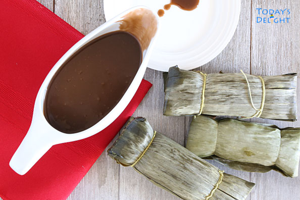Filipino Coconut Caramel Sauce made with coconut milk and brown sugar is Today's Delight