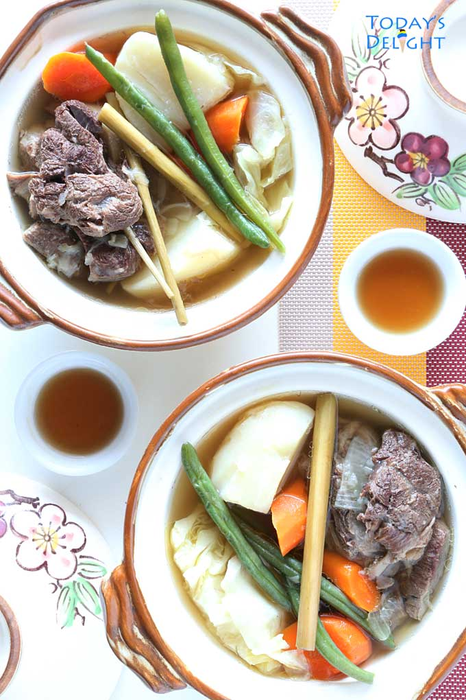 Filipino Beef Soup flavored with lemongrass is Today's Delight