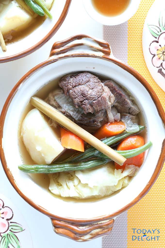 Filipino Beef soup with vegetables flavored in lemongrass