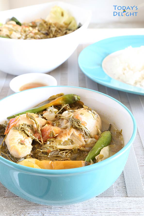 Chicken, vegetables and young tamarind leaves in sour broth