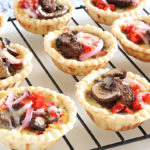 Mini Quiche with steak and vegetables in a rack